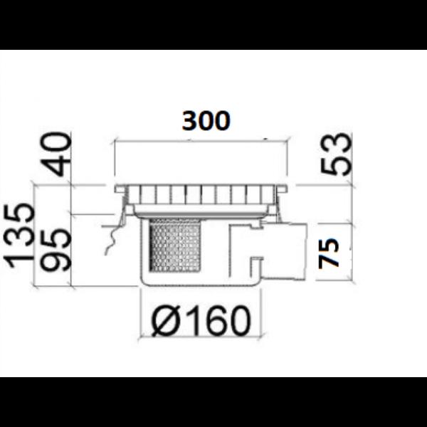 Inox slivnik 300x300 mm, horinzontalni DIA 75-nacrt