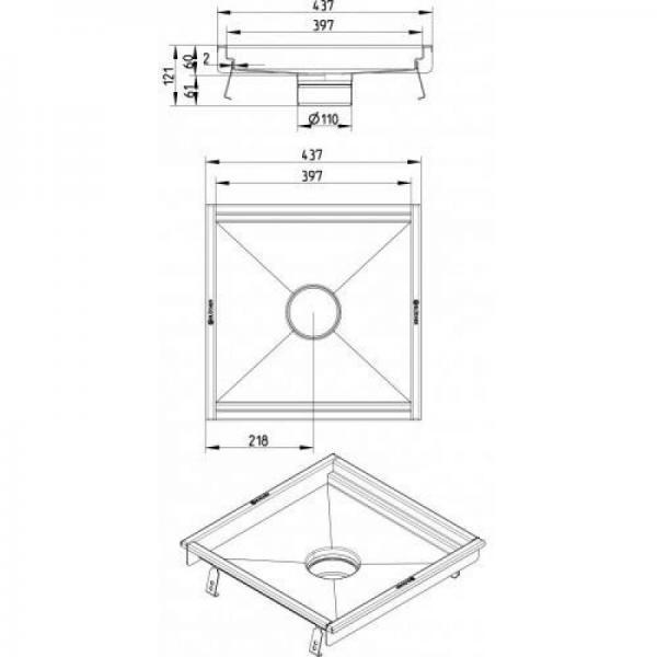 BLÜCHER 400x400 mm inox kuhinjski kanal