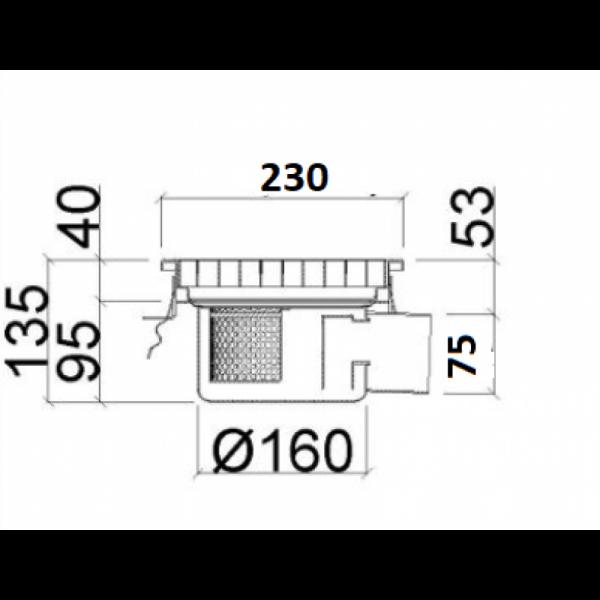 Inox slivnik 230x230 mm, horinzontalni DIA 75